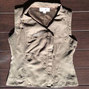 Olive Green Suede Zippered Vest w/ gold details